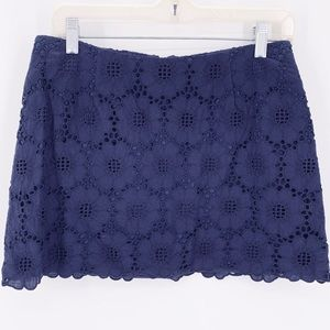 Lilly Pulitzer Tate Navy Floral Eyelet Mini Skirt